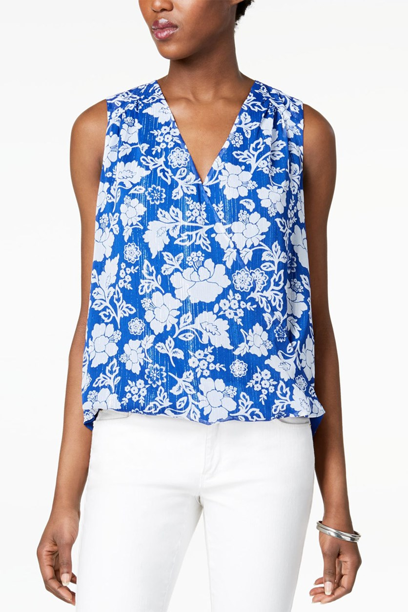 Floral-Print Faux-Wrap Top, Blue Combo