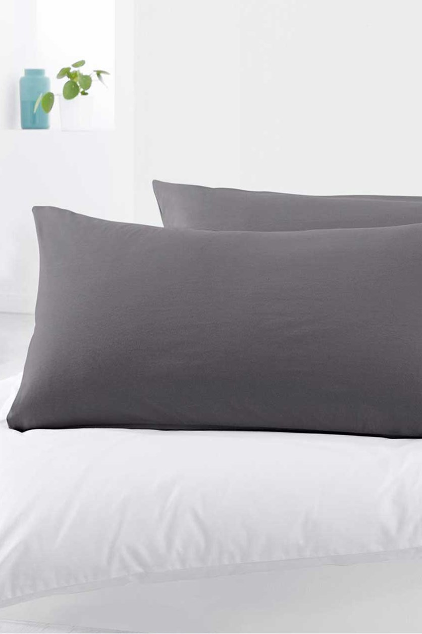 Jersey Pillowcase Set of 2, Dark Grey