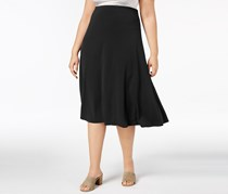 JM Collection Plus Size Pull-On Midi Skirt, Deep Black