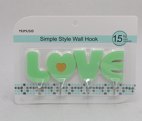 Simple Style Wall Hook 4PC, Green