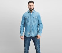 Ag Men's Long Sleeve Full Button Casual Shirt, Denim Blue