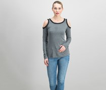 Bailey 44 Harlow Cold Shoulder Top, Grey/Black