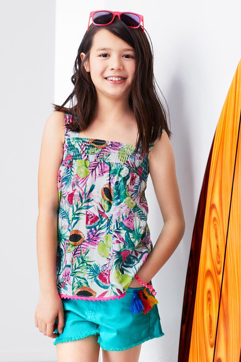 Girls Summer Top, Tropical Fruit