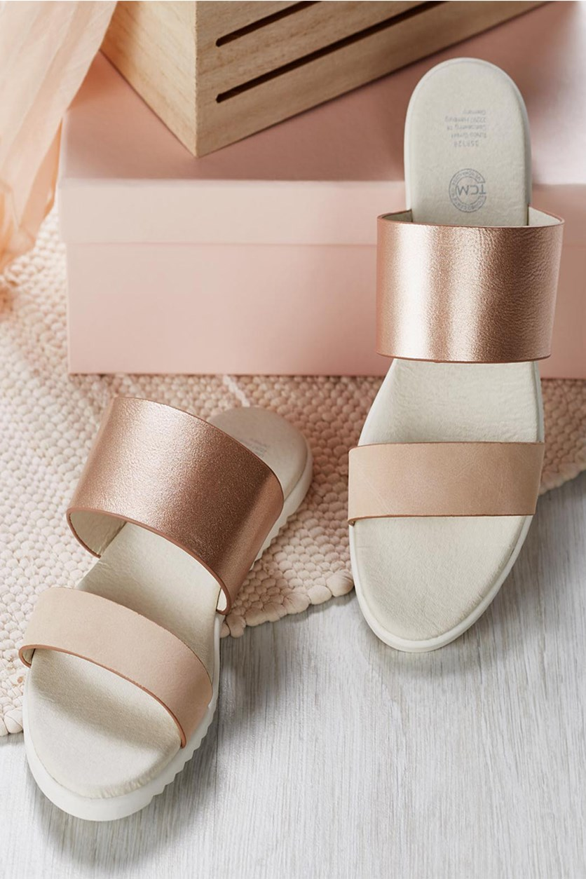 Women's Sandals, Cream/Rose Metallic