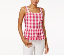 Maison Jules Cotton Gingham Peplum Top, Berry Sorbet