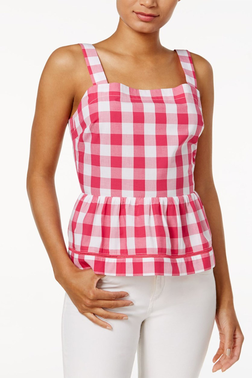 Cotton Gingham Peplum Top, Berry Sorbet