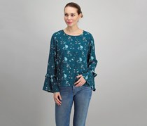 Maison Jules Bell-Sleeve Top, Sea Cave Combo