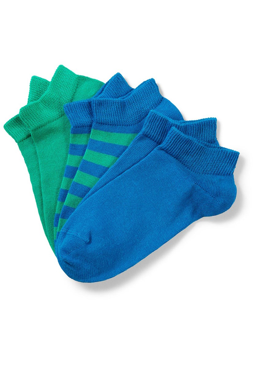 Boys Sneaker Socks, Blue/Green