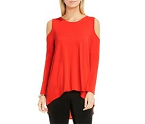 Vince Camuto High-low Cold-shoulder Top, Red