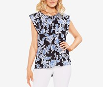Vince Camuto Printed Flutter-Sleeve Top, Rich Black