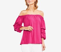 Vince Camuto Off-The-Shoulder Bubble-Sleeve Blouse, Pink Rose
