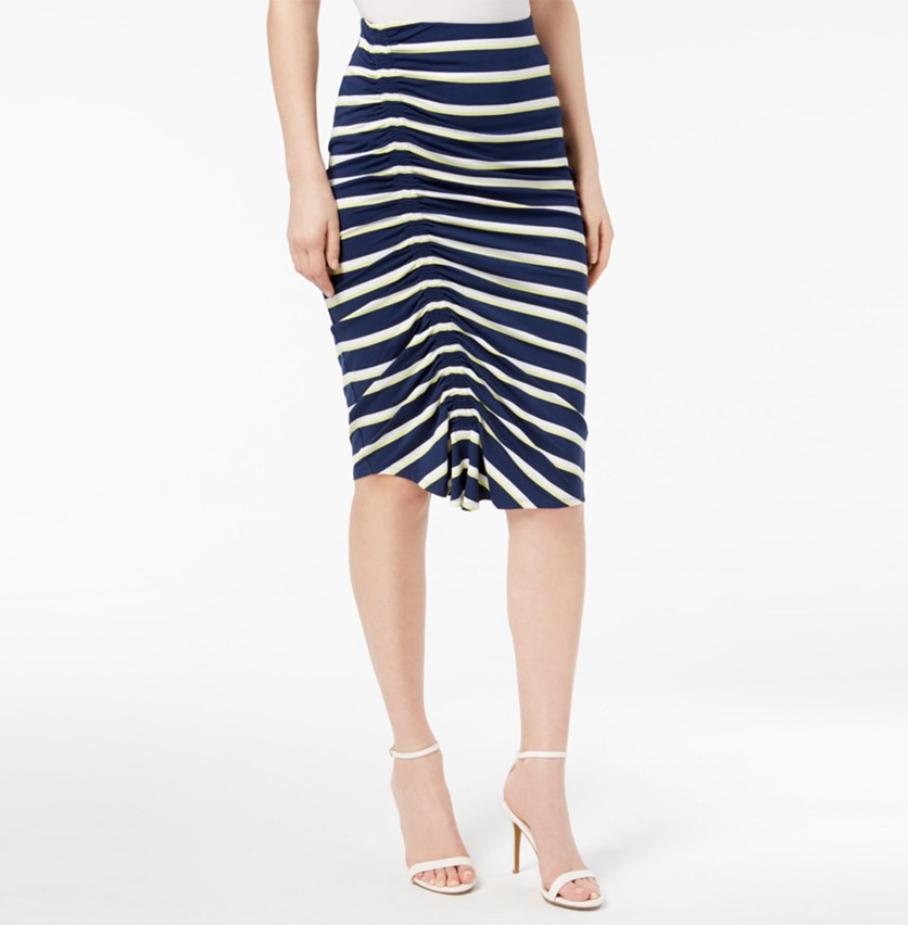 Ruched Pencil Skirt, High Tide Stripe