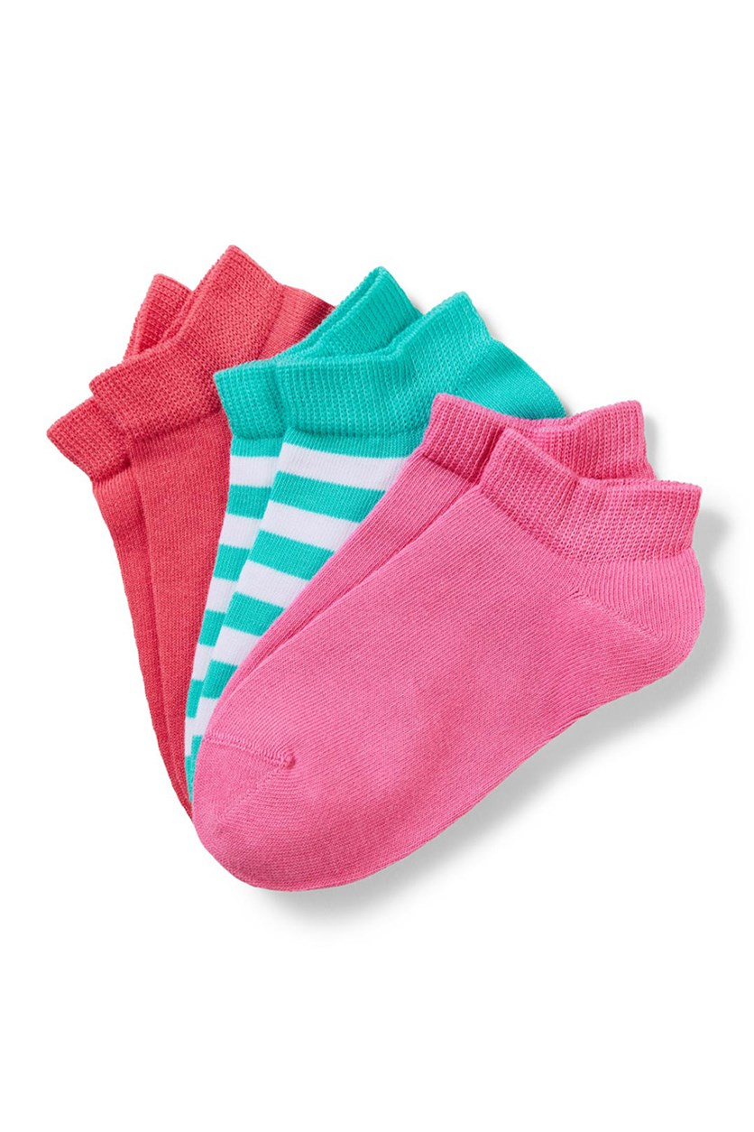 Girl's Sneaker Socks Set of 3, Red/Pink/Turq-White