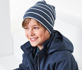 Boy's Striped Double Sided Beret, Navy/Green