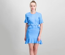 Bardot Ruffled Cutout Dress, Blue/Marina