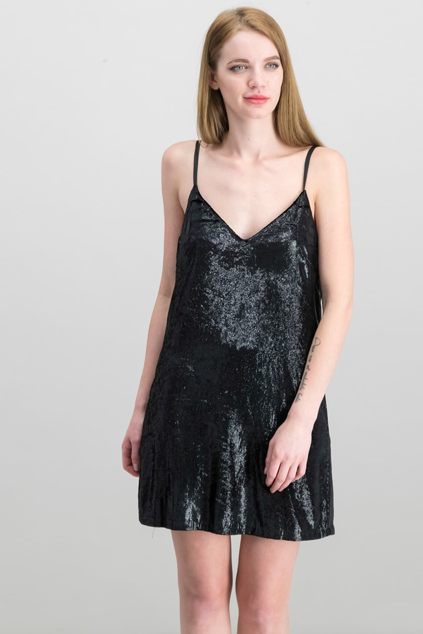 Women's Shadow Lux Tinsel Sparkly Velvet Slip Dress, Black