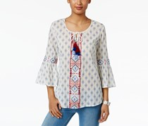 Style & Co Women's Petite Cotton Printed Peasant Top, White/Blue/Red