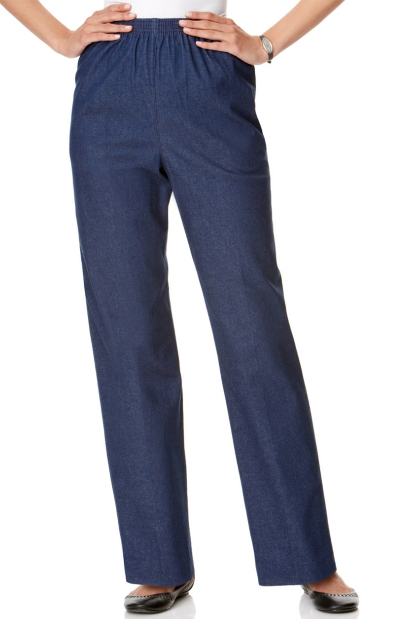 Denim Pull On Straight Pants, Blue
