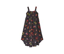 Kids Girls Floral Dot High Low Dress, Black