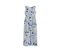 Big Girls Floral-Print Maxi-Overlay Dress, Navy/Ivory