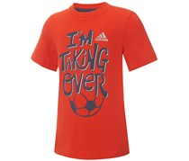 Adidas Boys Graphic-Print Cotton T-Shirt, Orange