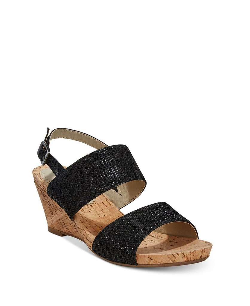 Alexus Slingback Wedge Sandals, Black Glitter