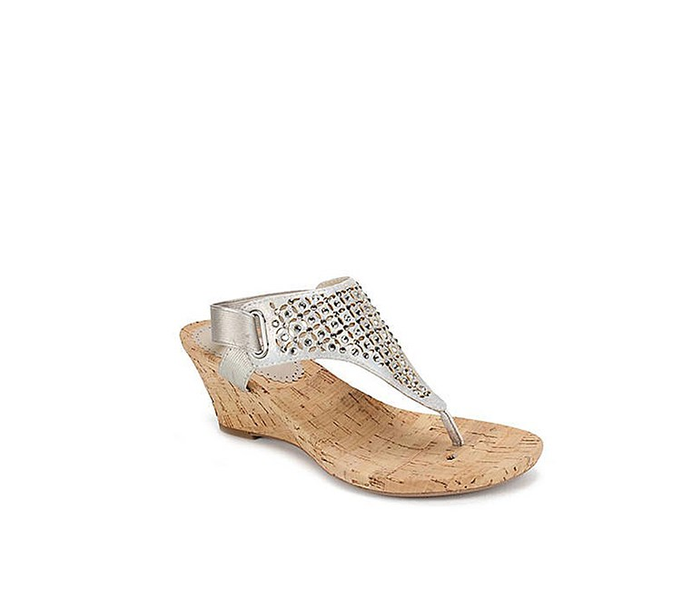 Arnette Embellished Wedge Sandals, Silver/Metallic
