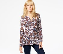 Sanctuary Long-Sleeve Printed Blouse, Blue/White/Brown