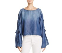 Women's Lace Up Sleeve Top, Denim Wash