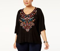 Eye Shadow Trendy Plus Size Embroidered Top, Black