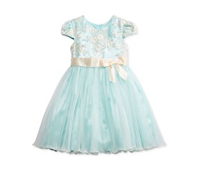 Bonnie Baby Girl's Embroidered Ballerina Dress, Blue