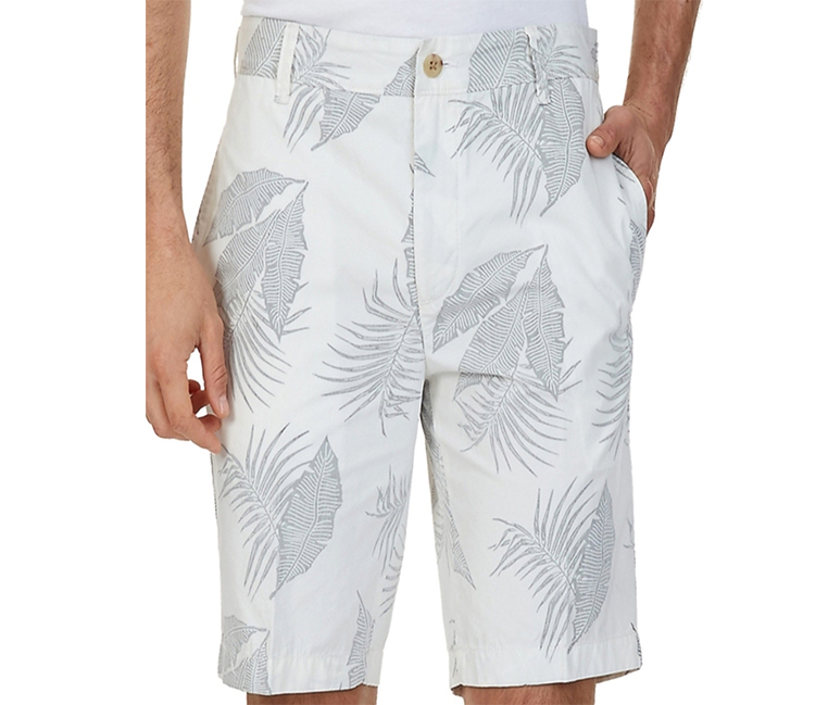 Nautica Men's Slim-Fit Leaf-Print Shorts, White