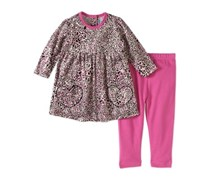 Bon Bebe Baby Girl Velour Dress & Legging Outfit Set, Pink/Black