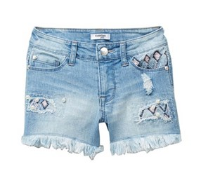 Bebe Girl's Embroidered Denim Shorts, Blue