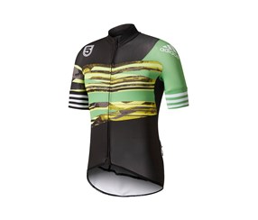 Adidas Men's 5th Floor London Adistar Cycling Jersey, Black/Green/White