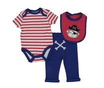 Bon Bébé Baby Boy's Bodysuit, Pants and Pirate Bib, Coral/White/Blue