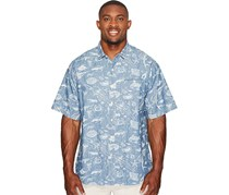 Tommy Bahama Men's Big & Tall Marlin Party Camp Shirt, Bering Blue