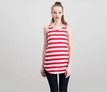 Papermoon Chest Pocket Striped Tank, Red Combo