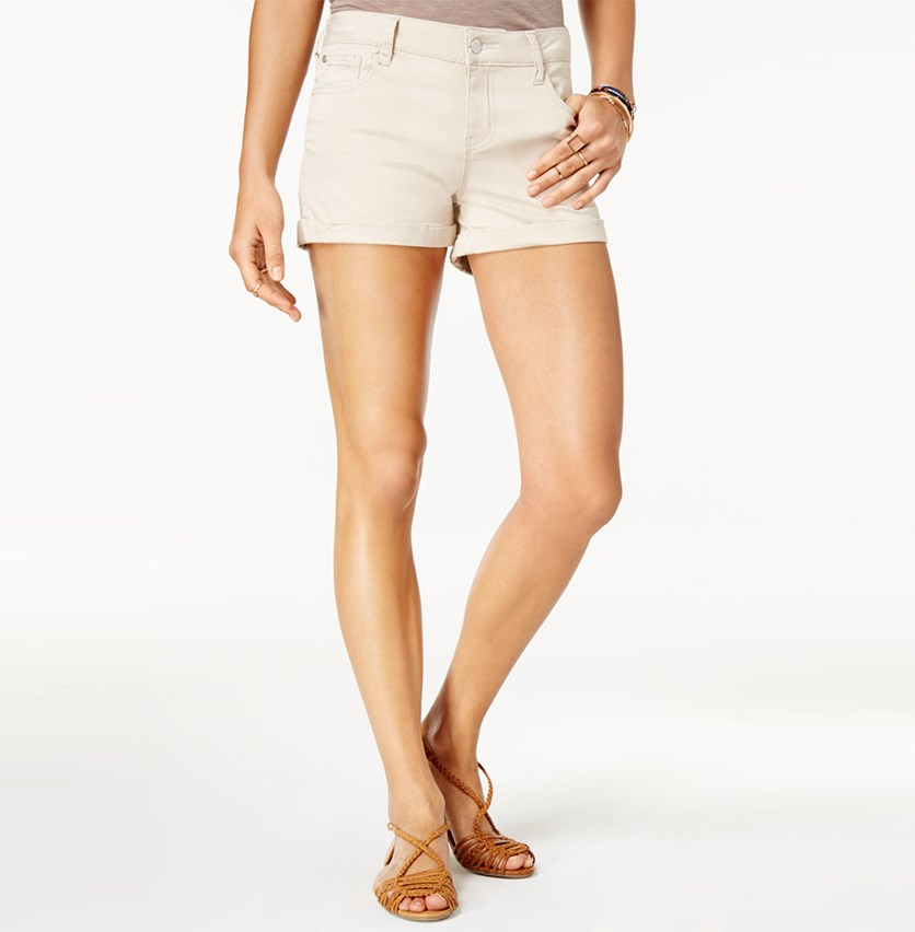 Juniors Cuffed Colored-Wash Short, Stone