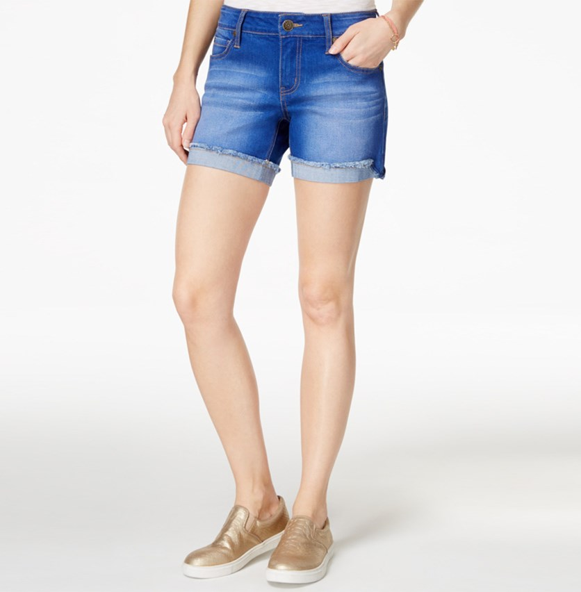 Juniors' Cuffed Denim Short, Blue Lagoon Wash