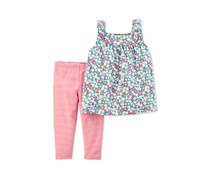 Carters 2-Pc. Floral Print Tunic Stripe Print Set, Pink/Combo