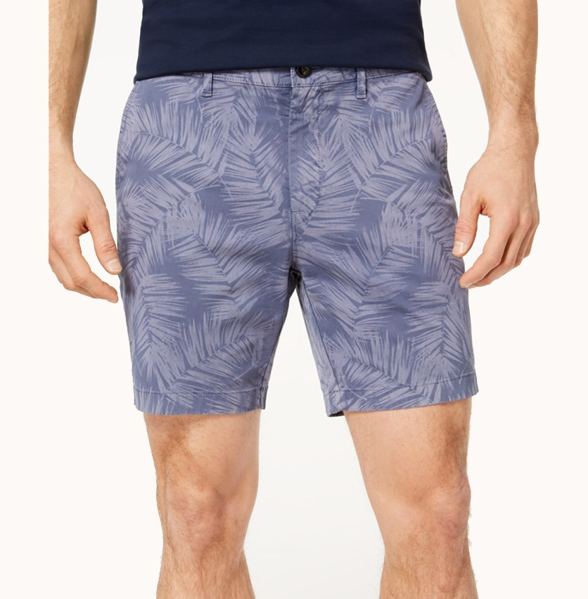 Mens Classic-Fit Stretch Floral, Smokey Blue