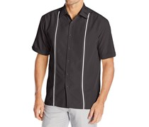 Cubavera Men's Contrast Stitch Short-Sleeve Shirt, Jet Black