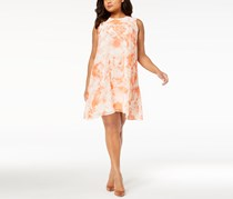 Calvin Klein Women's Plus Size Printed Chiffon Trapeze Dress, Peach Combo