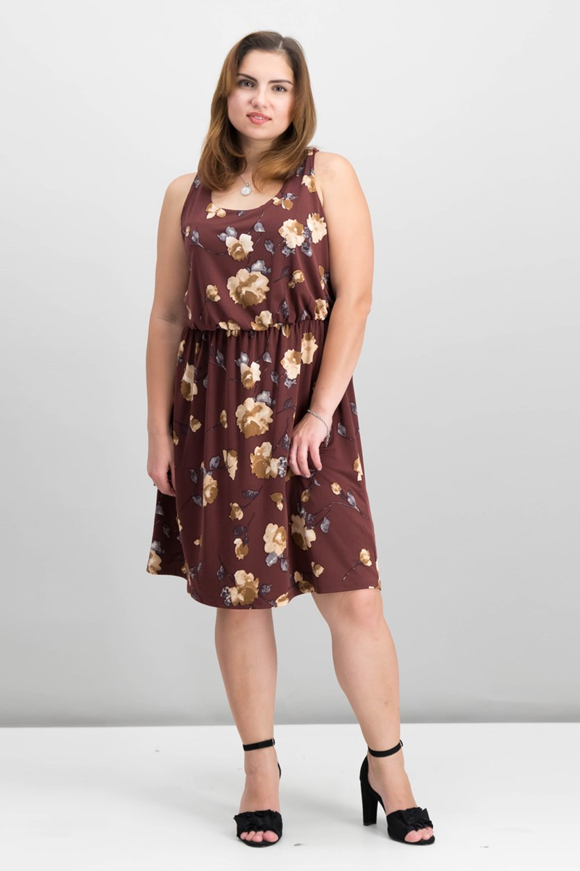 Women's Floral Dress, Brown Combo