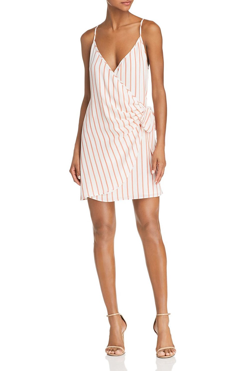 Women's Aurelia Striped Mini Wrap Dress, Coral Combo