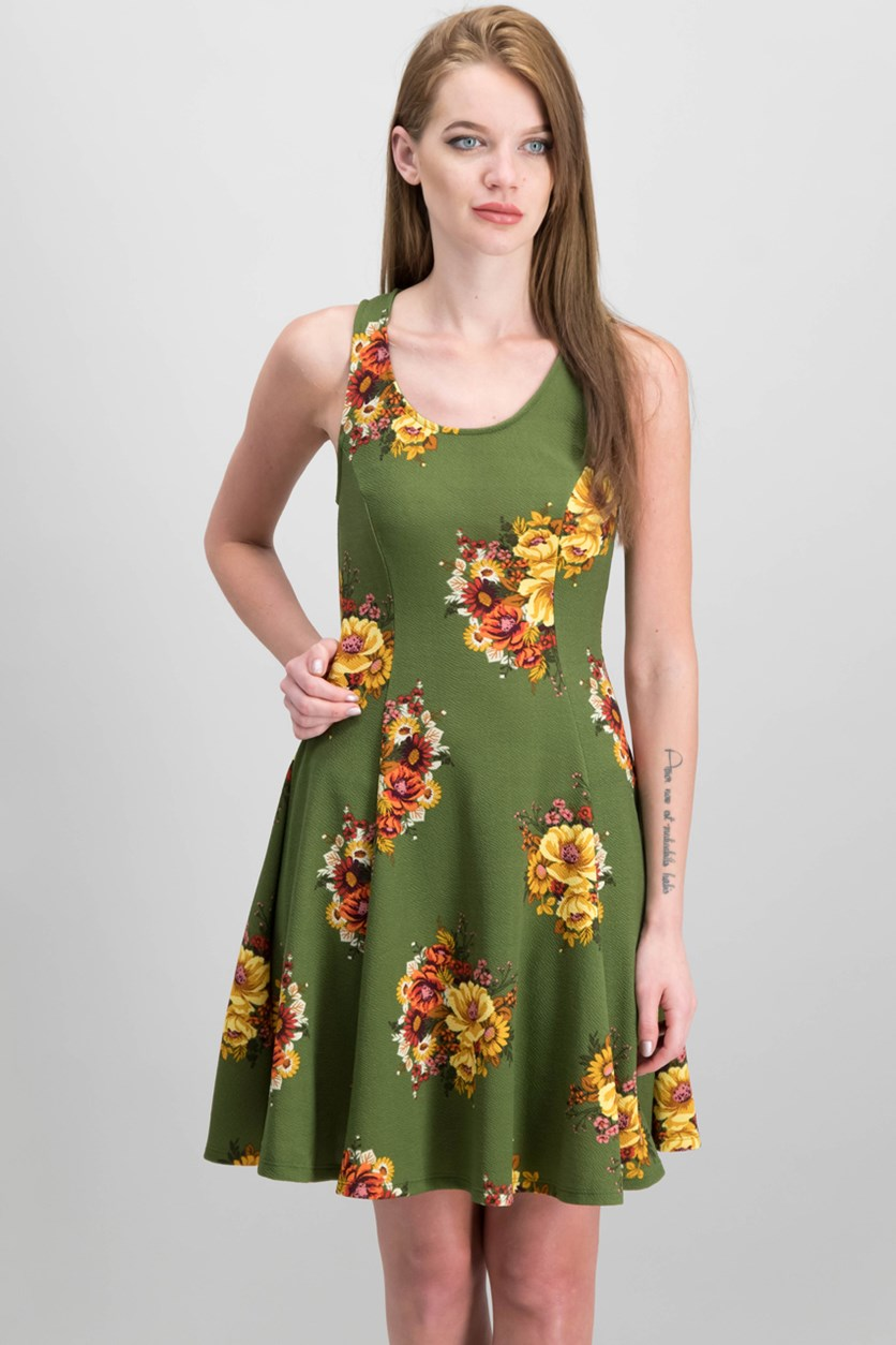 Women's Floral Print Fit & Flare Dress, Olive