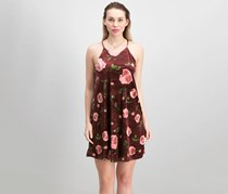 French Grey Women's Floral Print Dress, Maroon