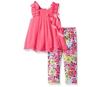 Rare Edition  Baby Girls' Chiffon Top Floral Pant Set, Pink