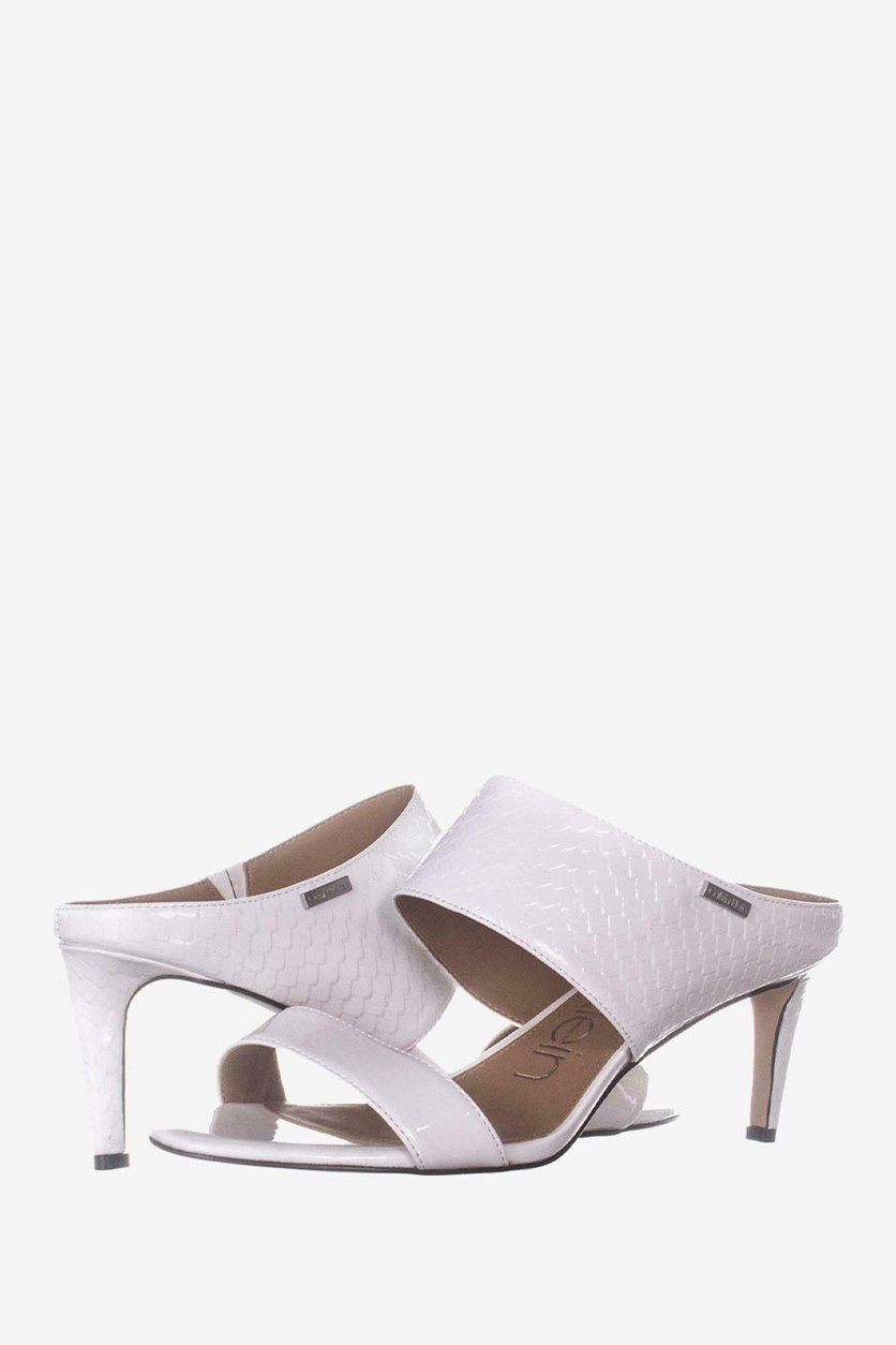 Womens Cecily Wide-Strap Sandals, Platinum White